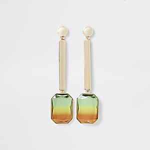 Gold color ombre gem drop earrings