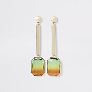 Pendants d'oreilles avec pierres fantaisie dorées effet dégradé