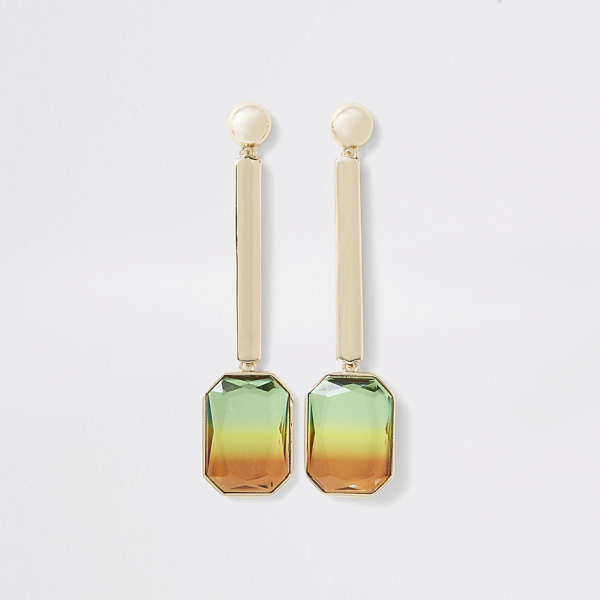 Gold color ombre gem drop earrings