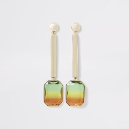 Gold colour ombre gem drop earrings
