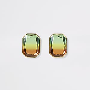 Gold colour ombre gem stud earrings
