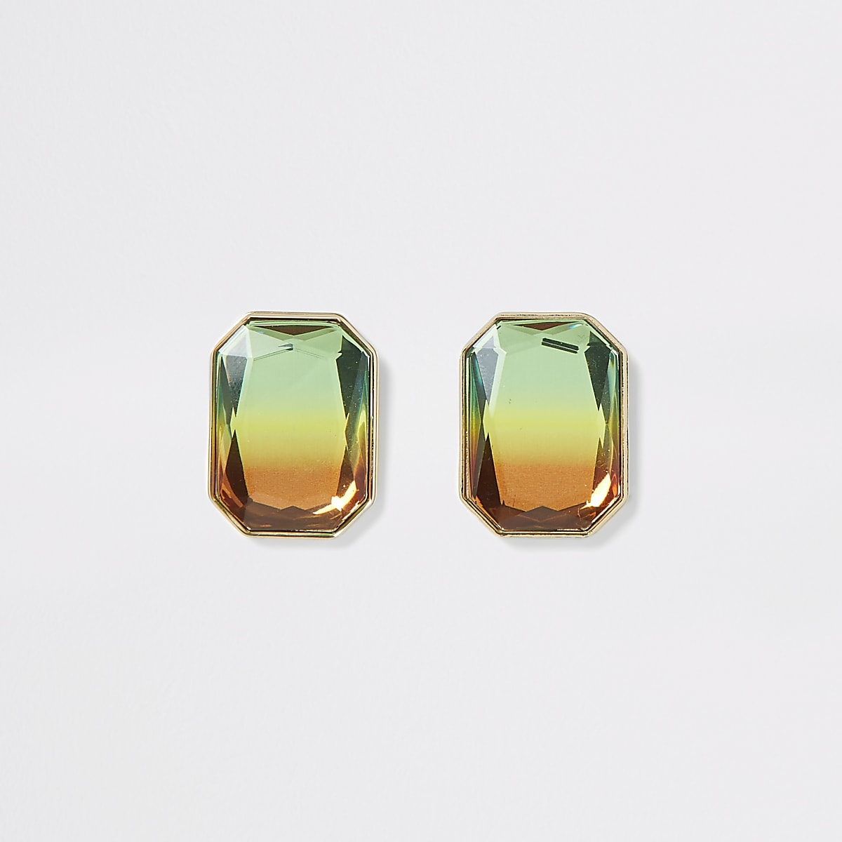 Gold color ombre gem stud earrings