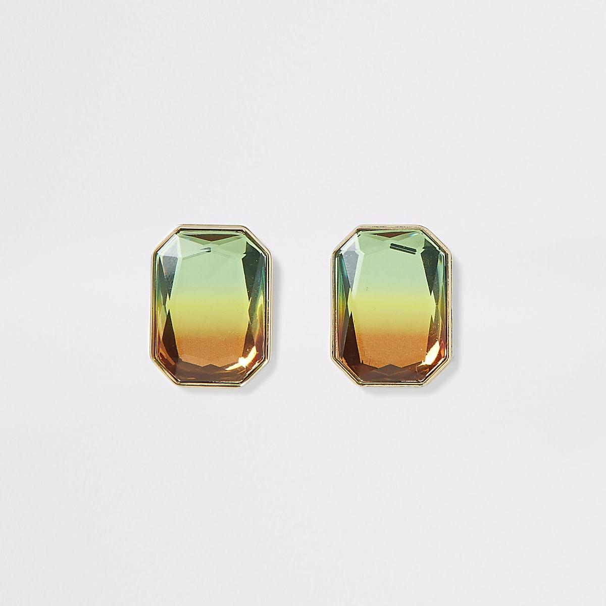 Boucles d'oreilles dorées avec pierres fantaisie effet dégradé