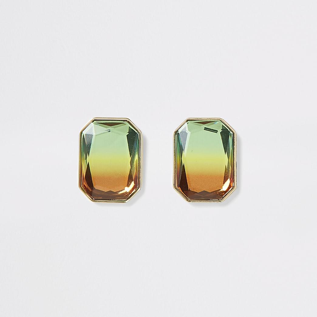 Gold colour ombre gem stud earrings
