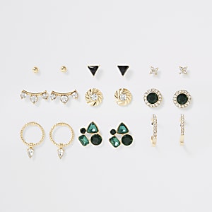 Gold colour green gem earrings multipack