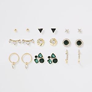 Lot de boucles d'oreilles dorées à pierres vertes