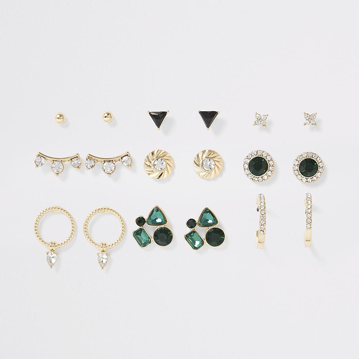 Gold colour green gem earrings multipack