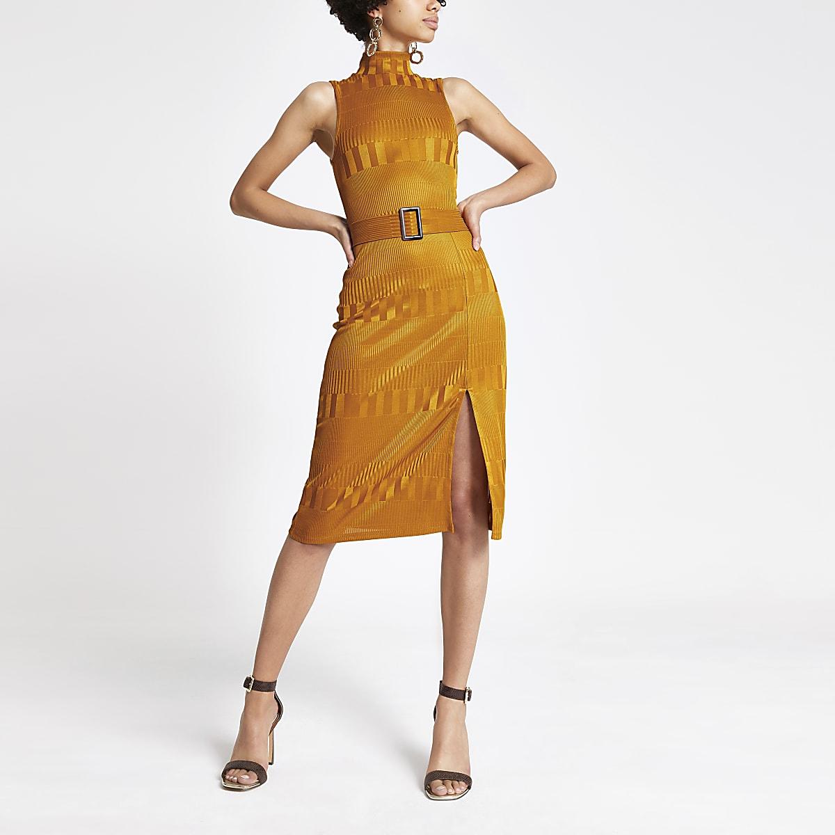 Orange high neck belted dress