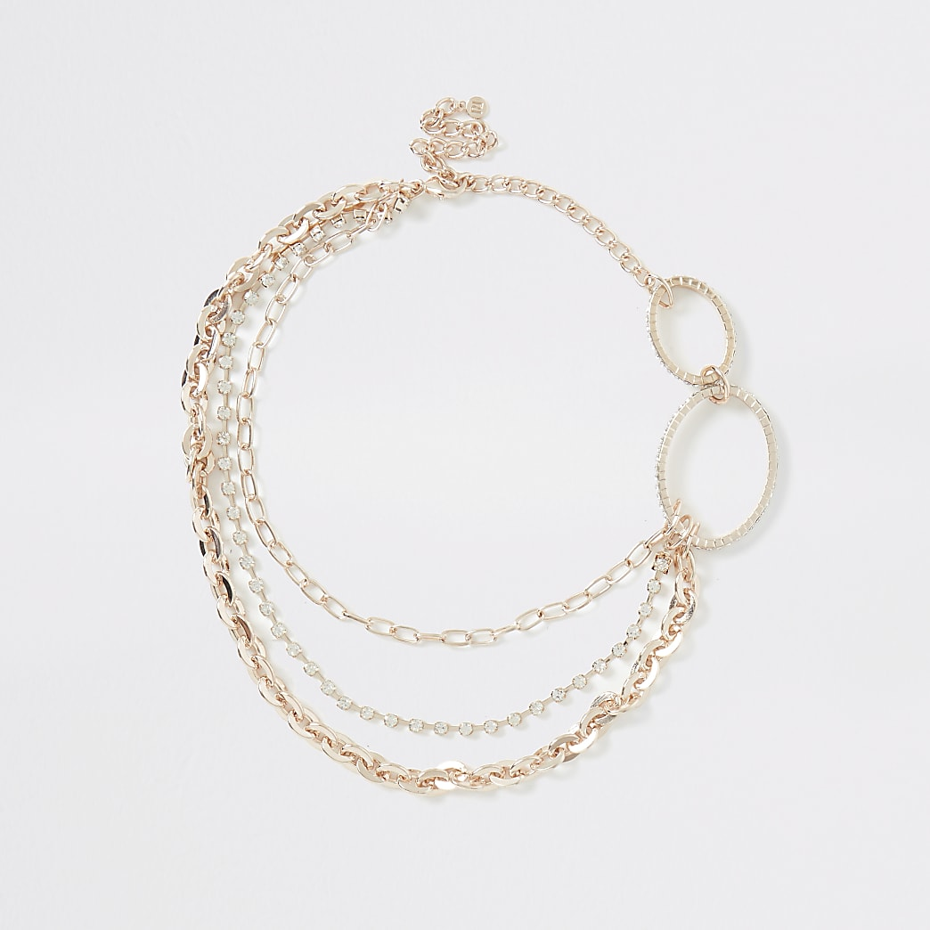 Collier chaîne ovale or rose