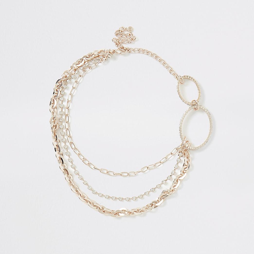 Roségoudkleurige ketting met ovalen