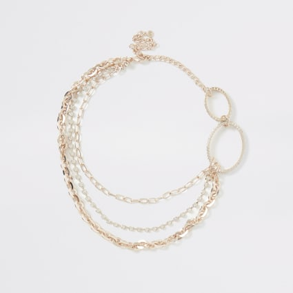 Rose gold colour oval chain necklace