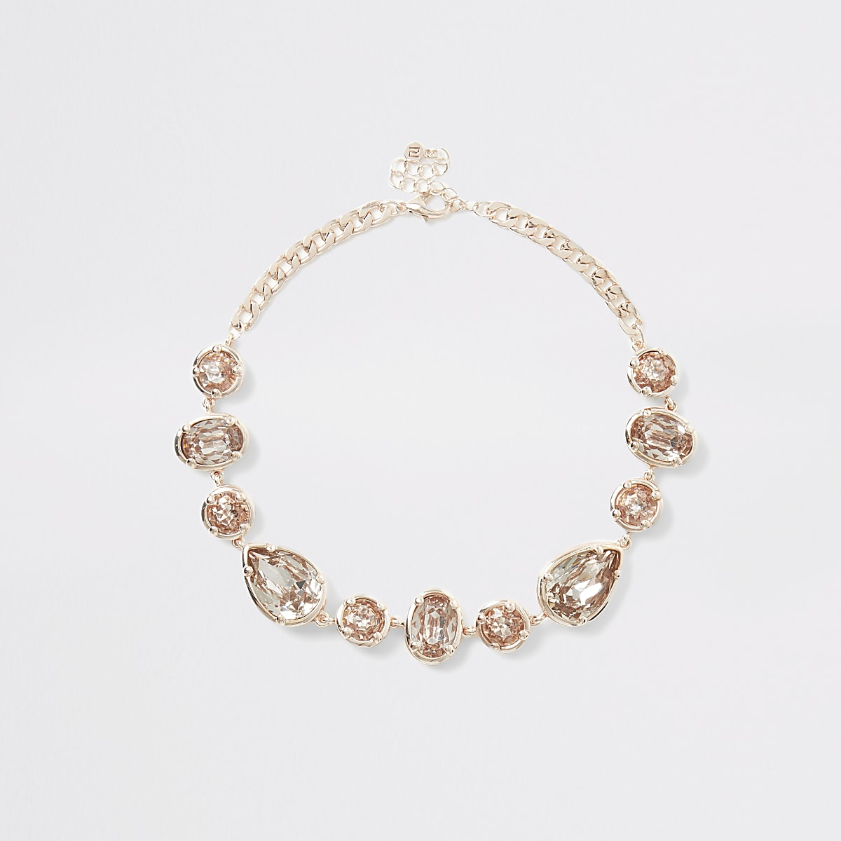 Rose gold colour gem necklace