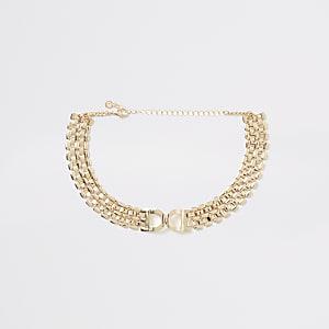 Goldfarbene Choker mit D-Ring