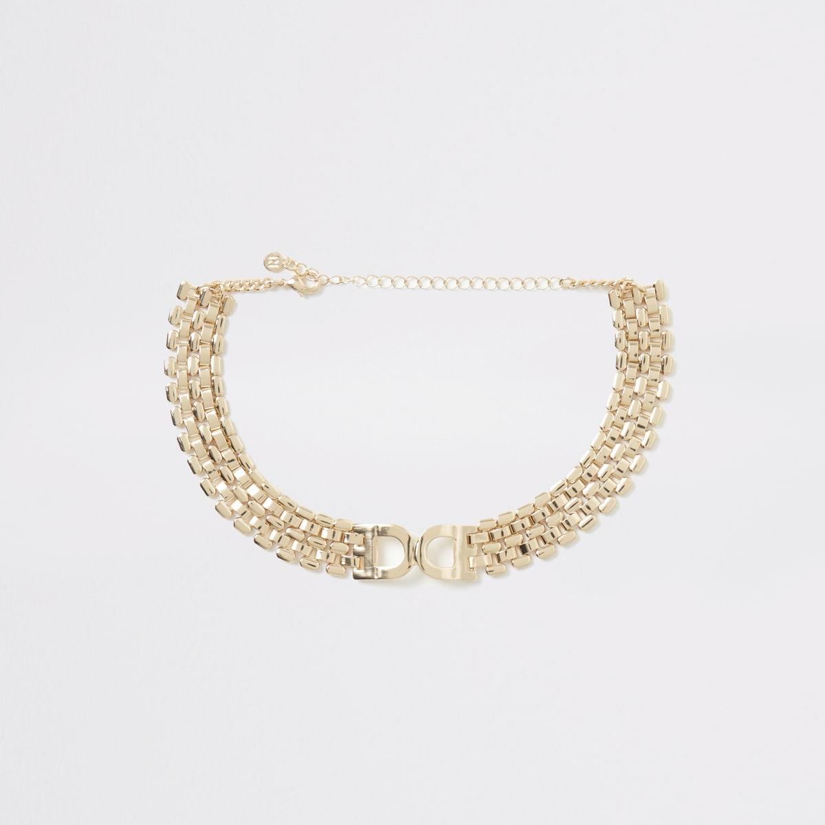 Gold colour D ring choker