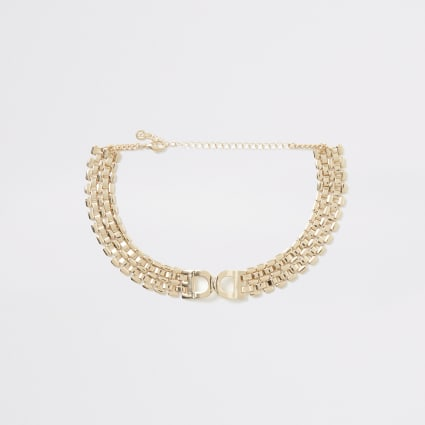 Gold colour D ring choker