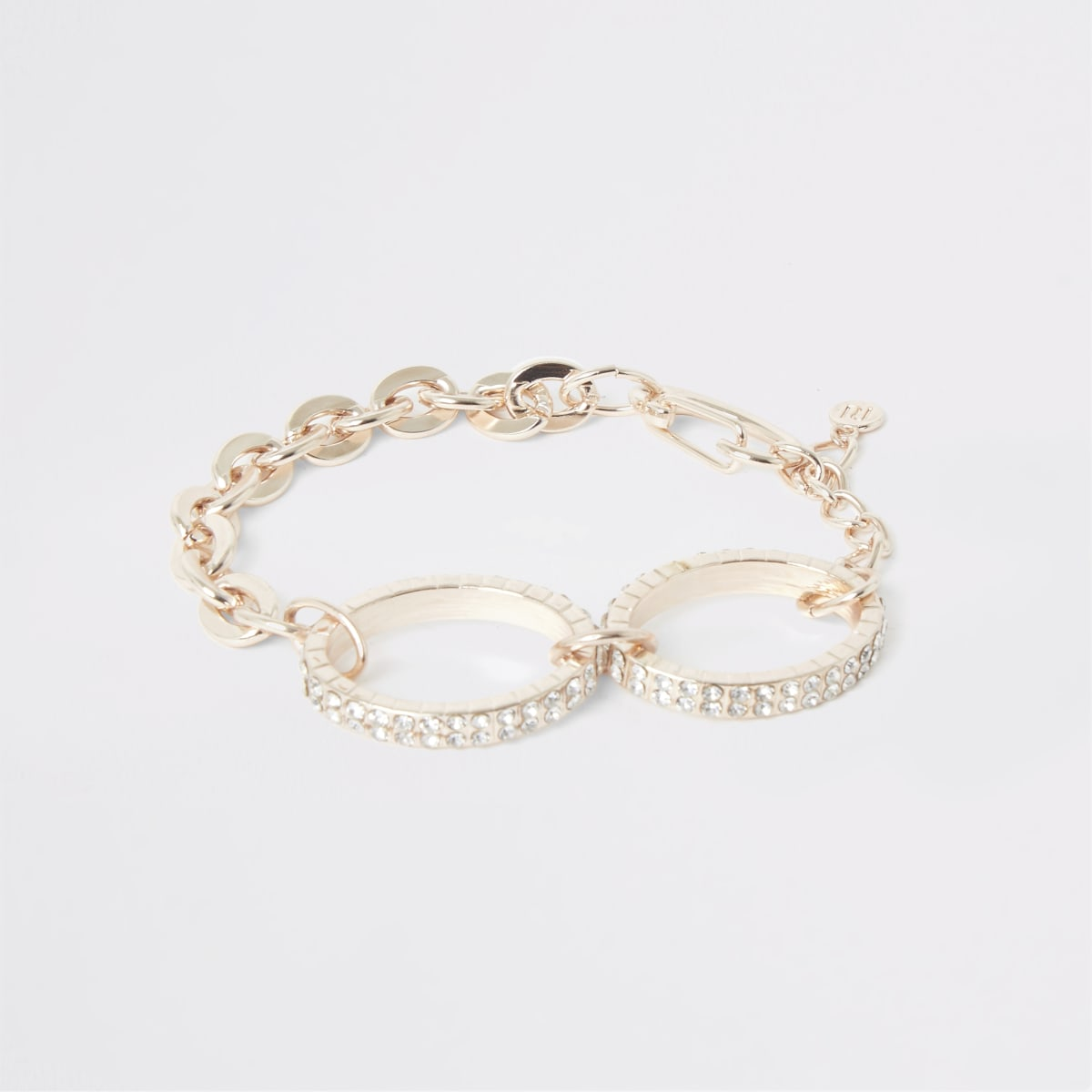 Rose gold colour diamante oval bracelet