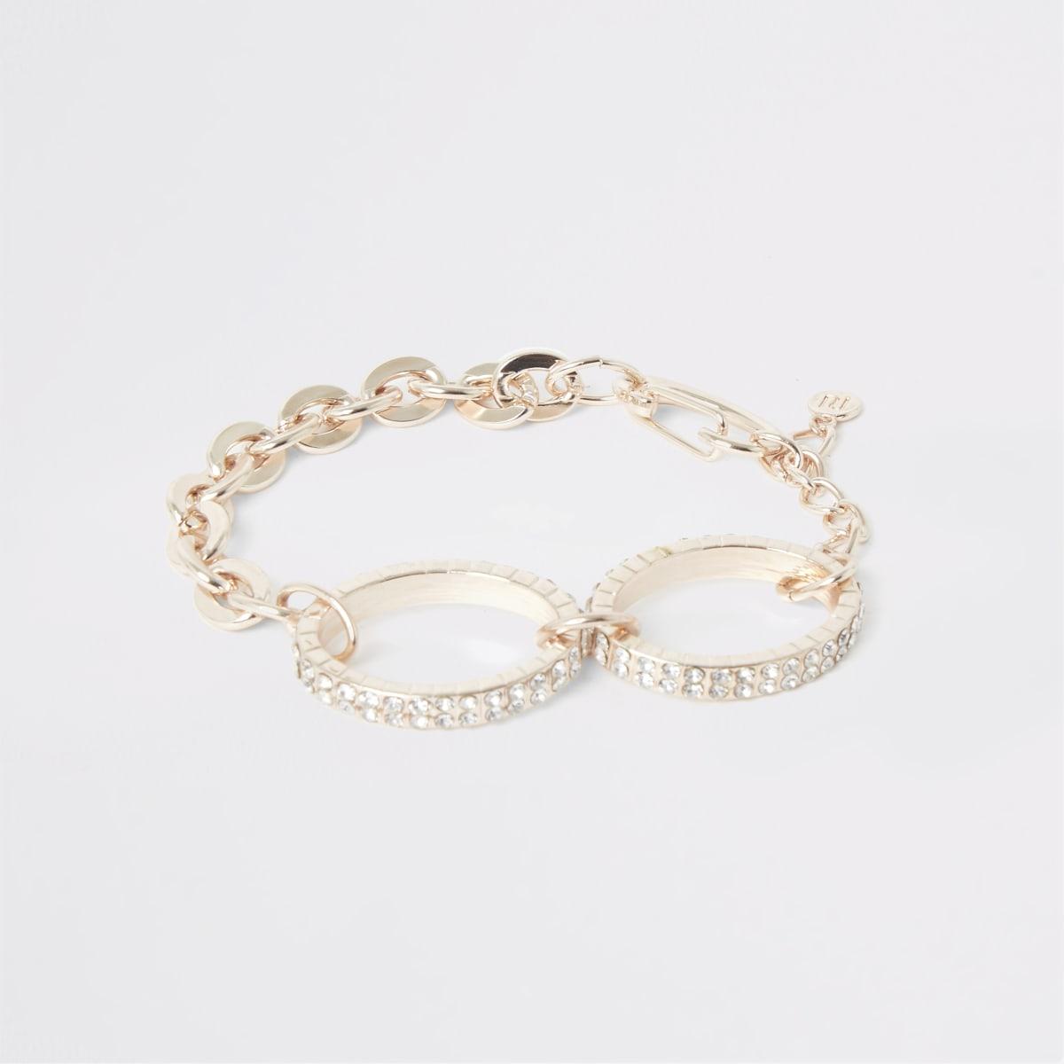 Bracelet or rose avec pièces ovales à strass