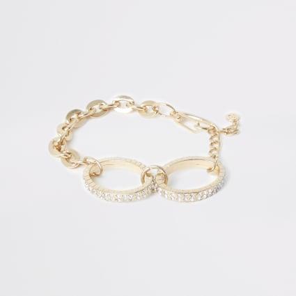 Gold colour oval diamante paved bracelet
