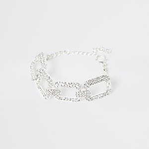 Silver colour diamante rectangle bracelet