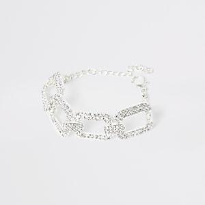 Silver colour diamante rectangle bracelet