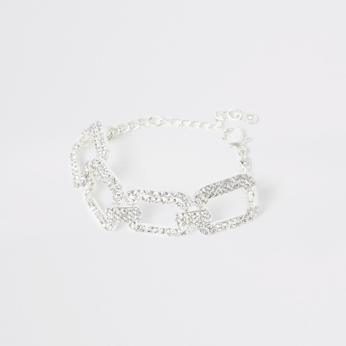Zilverkleurige rechthoekige armband met siersteentjes