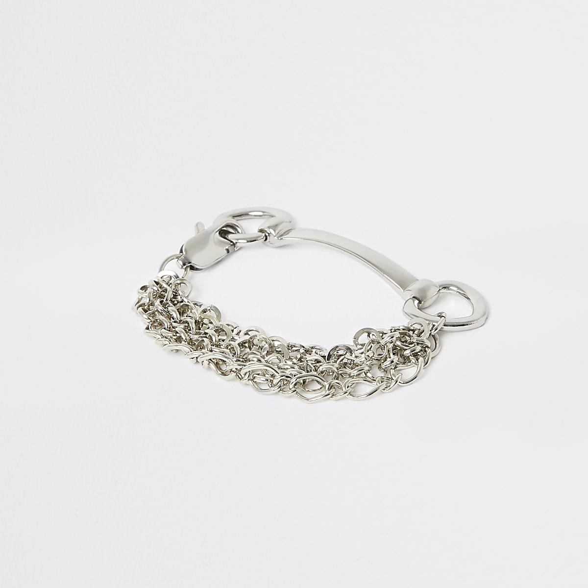 Silver colour chain snaffle bracelet