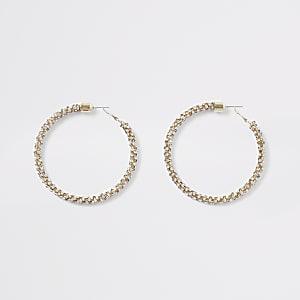 Gold colour diamante hoop earrings