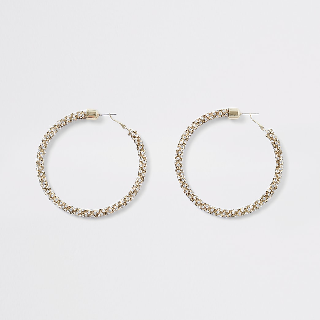 Gold colour diamante hoop earrings