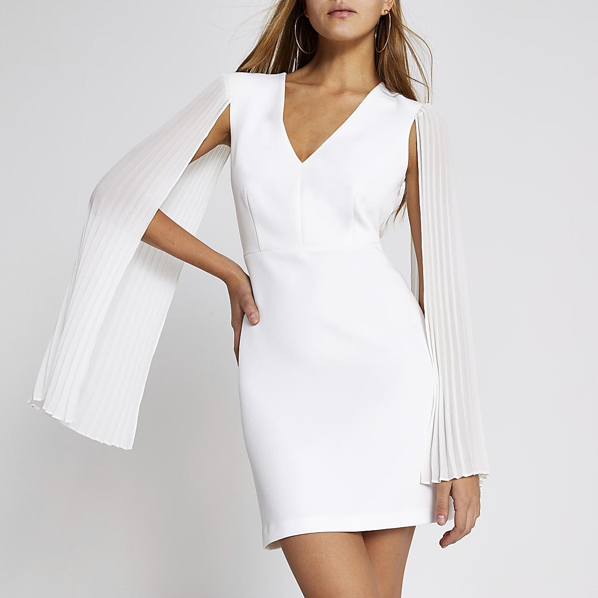 White pleated sleeve mini bodycon dress