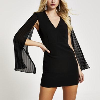 Black pleated sleeve mini bodycon dress