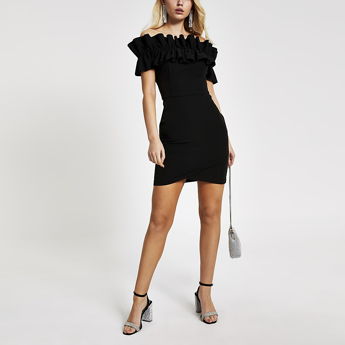 Black bardot ruffle bodycon mini dress