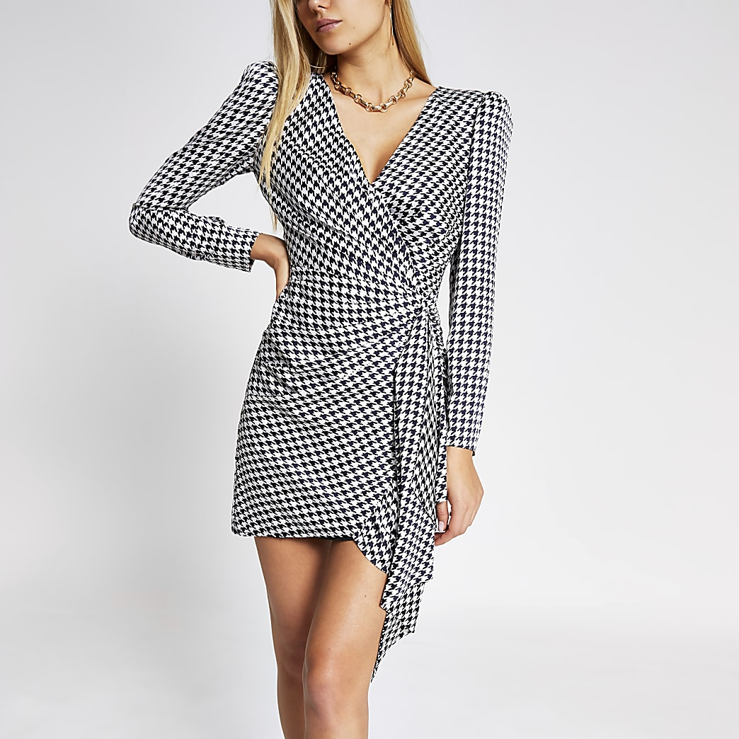Black dogtooth print wrap mini dress