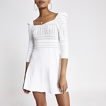 Cream puff sleeve pointelle dress