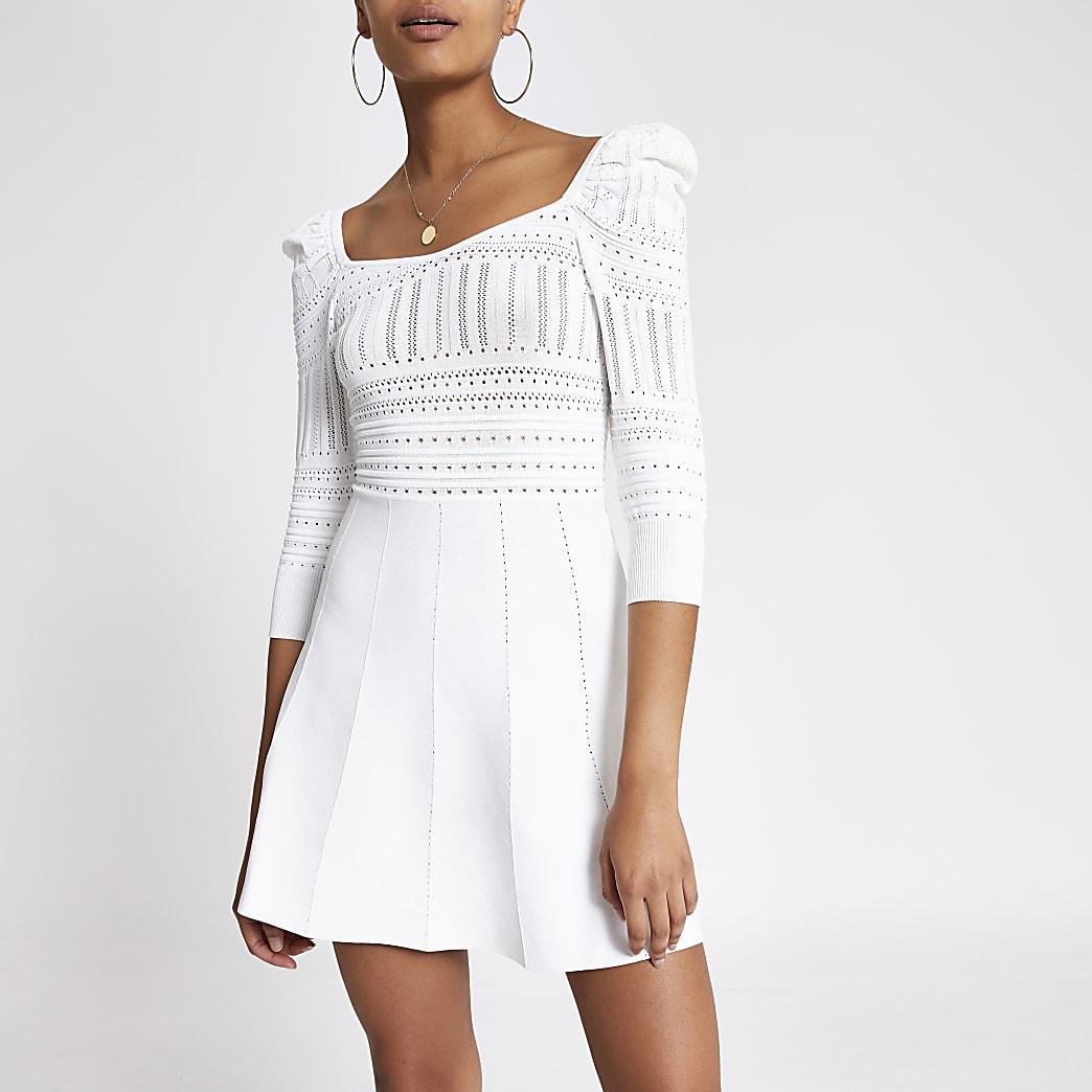 Cream puff sleeve pointelle dress