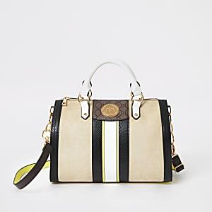 Mittelgroße Tasche in Beige und Gelb