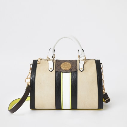 Beige and yellow medium bowler bag