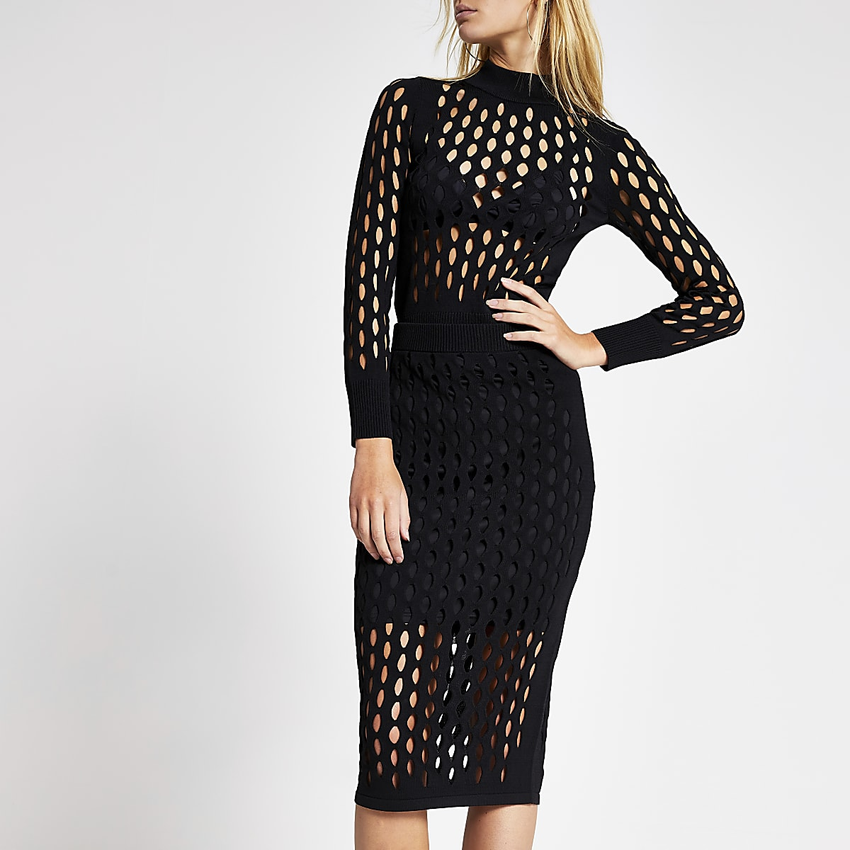 Black mesh fitted midi skirt