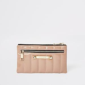 Beige patent pouch purse