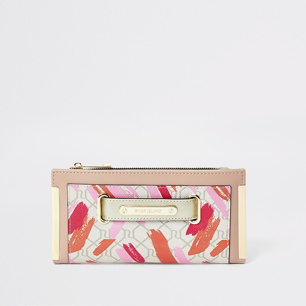 Beige RI monogram lipstick smudge purse