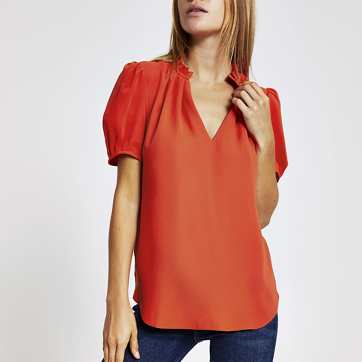 Red V neck shell top