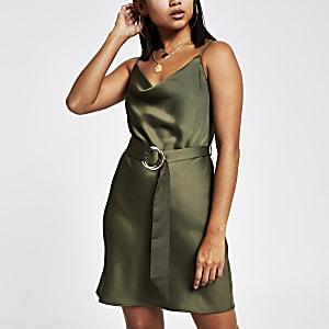 Petite khaki cowl neck belted slip dress