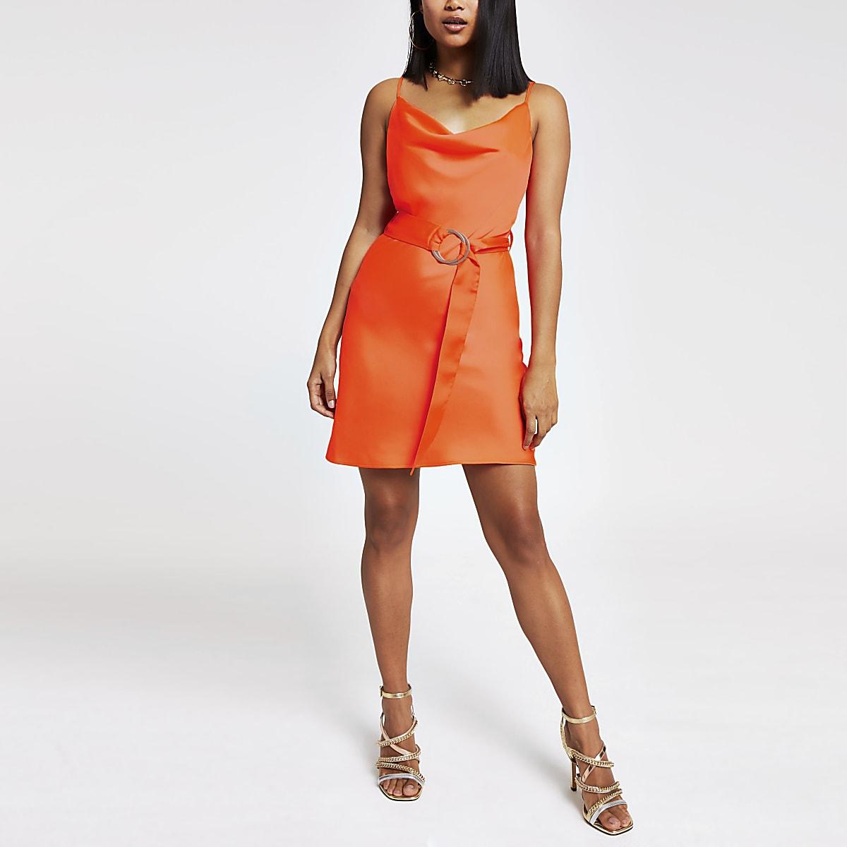 Petite orange cowl neck belted slip dress