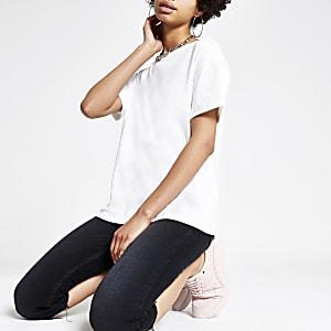 White turn up sleeve T-shirt