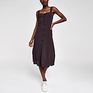 Zwarte midi-jurk met print