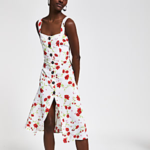 Crème midi-jurk met bloemenprint