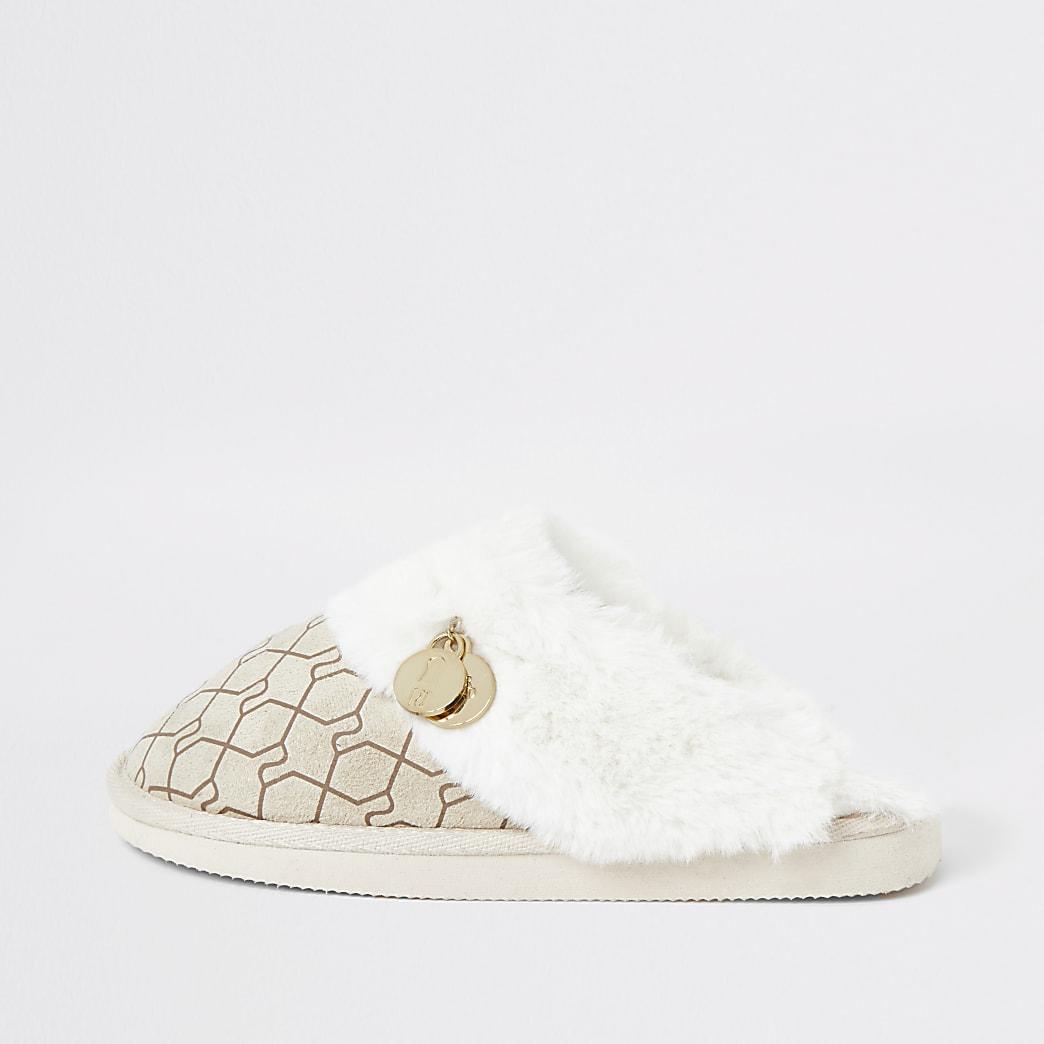 Cream RI monogram mule slipper