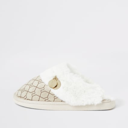 Cream Ri monogram mule slipper