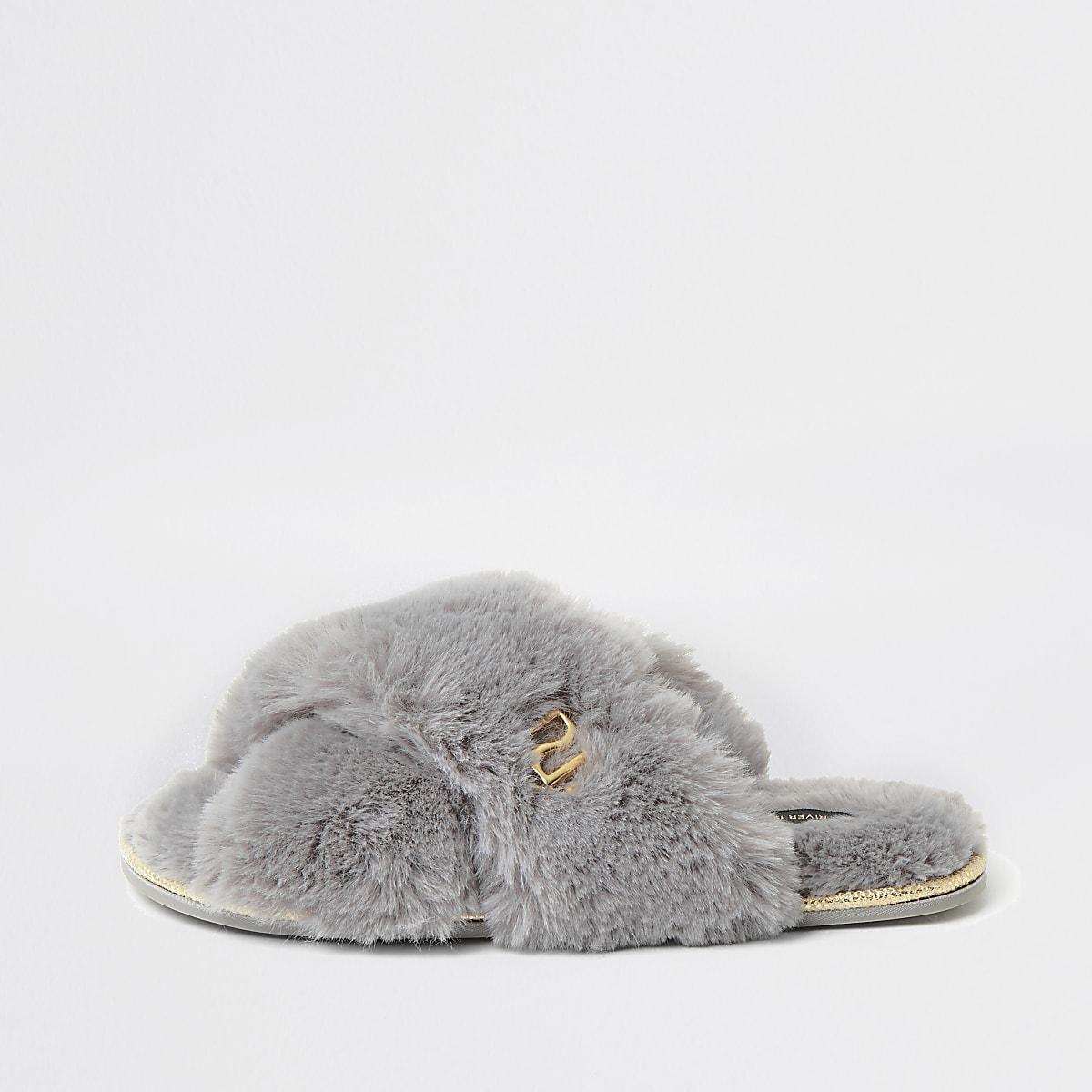 Grey faux fur cross over mule slipper