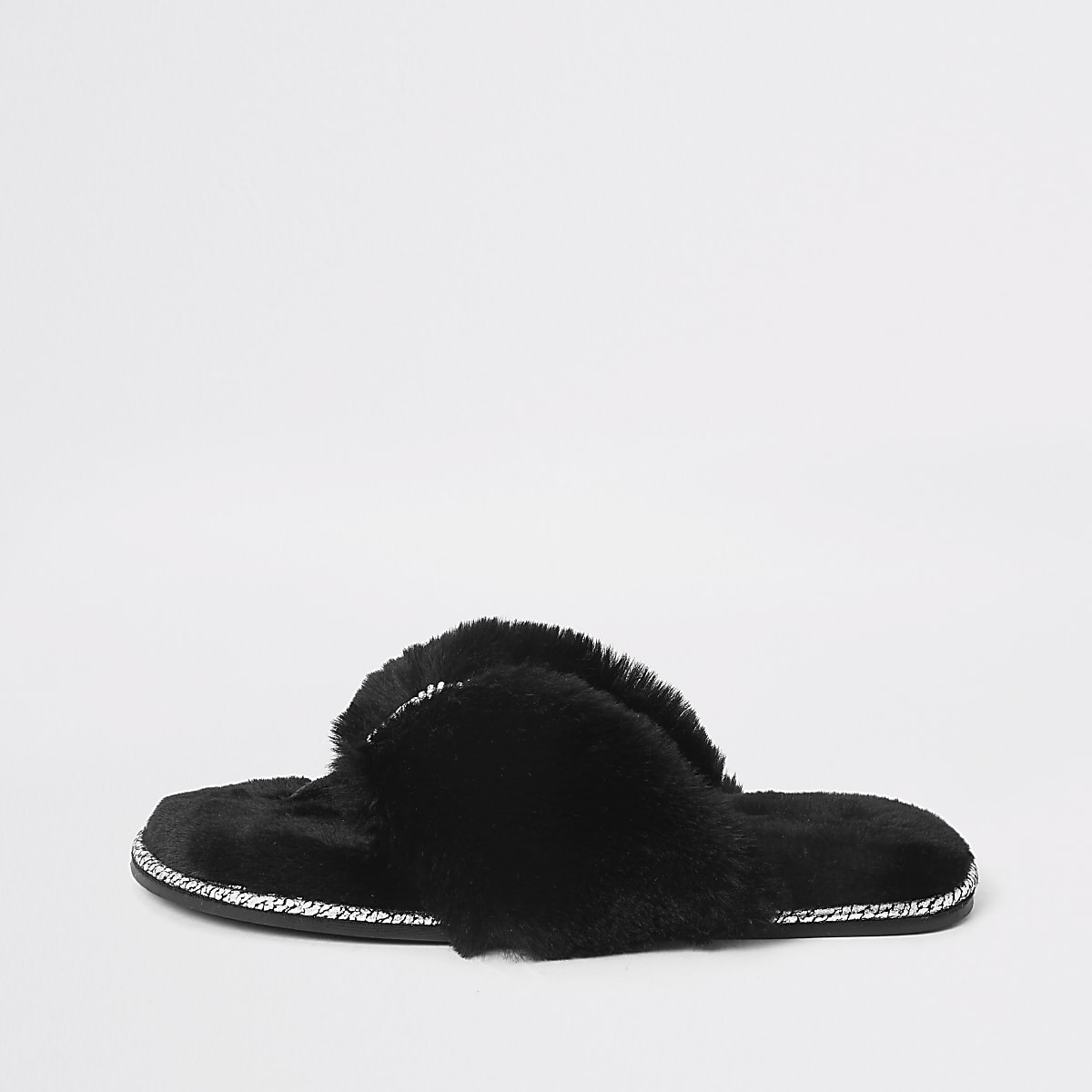 Chaussons claquettes en fausse fourrure noire à strass