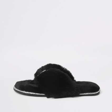 Black diamante  faux fur flip flop slippers